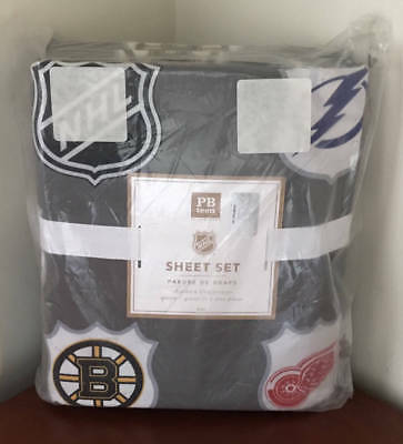 Pottery Barn Teen NHL Sheet Set~Eastern Conference~Queen~Gray