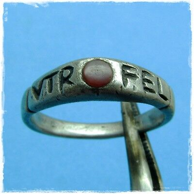 > VTERE FELIX - use with luck < MILITARY ANCIENT ROMAN SILVER RING !!!