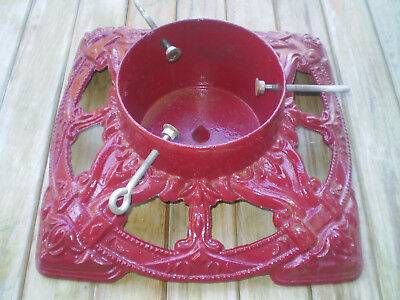 Vintage Red Cast Iron Christmas Tree Stand ~ Very Heavy ~ Happy Holidays