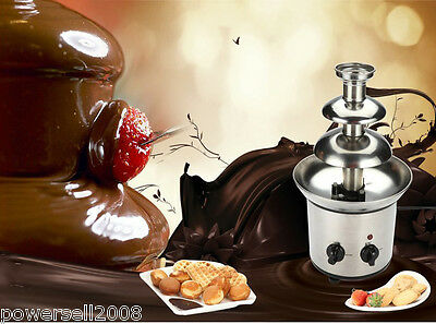 New 3 Tiers Stainless Steel Chocolate Fountain Fondue Waterfall Machine