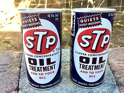 Two Vintage Sealed Studebaker STP Oil Treatment Treatment Tin Cans Free Shipping