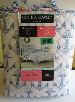 Cynthia Rowley 3 Pc Quilt Set  King Size  Anchors  New With Tags