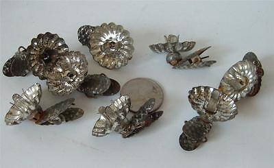 Antique Lot of 8 Victorian Tin Clip On Xmas Tree Candle Holders Ball Movement 1""