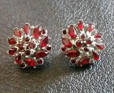 Vintage CROWN TRIFARI Clip Earrings Silver Plated Red Rhinestone Signed