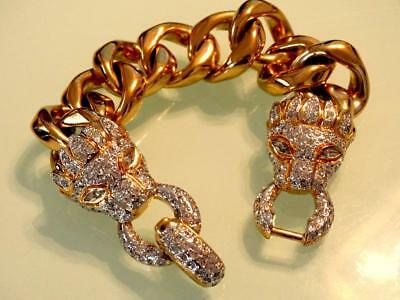 Vtg 80S Vogue Bijoux Italy Couture Panther Head Crystal Heavy Gold Link Bracelet