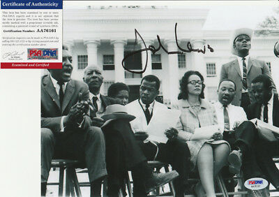 John Lewis Selma March W/ Martin Luther King Jr Signed 8x10 Photo PSA/DNA COA A