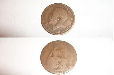 Half Penny Coin 1917 George V - 100 years old