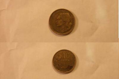 France French Francaise 10 Francs Coin 1953