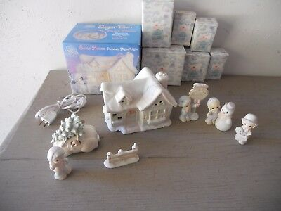 Precious Moments Sugar Town Sam's House Complete 7 Piece Set w/box 529605 Lights