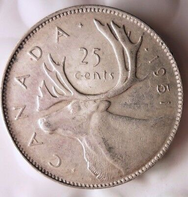 1951 CANADA 25 CENTS - Excellent Scarce Date Silver Coin - Lot #121