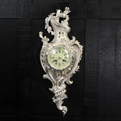 RARE SILVER CARTEL WALL CLOCK, ANTIQUE FRENCH by SAMUEL MARTI C1870