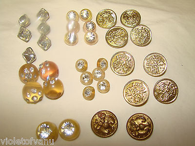 99Nr Art Deco 34 Pc Lot Celluloid Rhinestones Metals Buttons ~~~ Xmas Projects