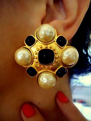 Look Of Fine Carlisle Couture Gilt Gripoix Baroque Pearl Maltese Cross Earrings