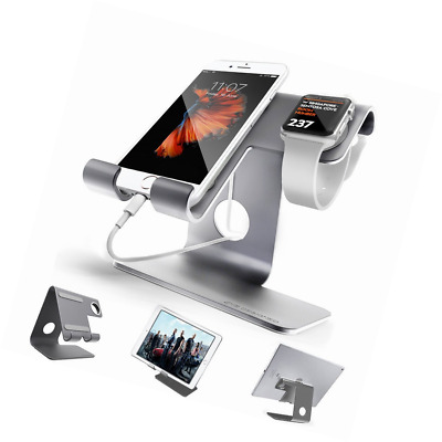 Universal 2 in 1 Cell Phone Tablet Stand,ZVE Aluminium Iwatch Charging Stands Do