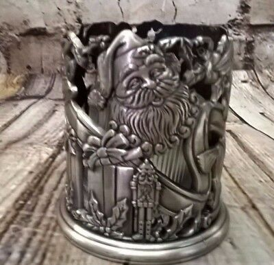 Pewter Tealight Candle Holder, Santa Clause w/ Presents Stocking Christmas Theme