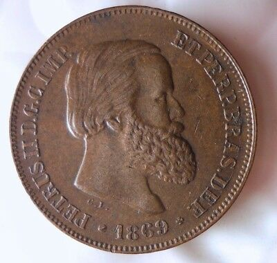 1869 BRAZIL 10 REIS - HIGH GRADE - Very Scarce Coin - Hard to Find - Lot #121