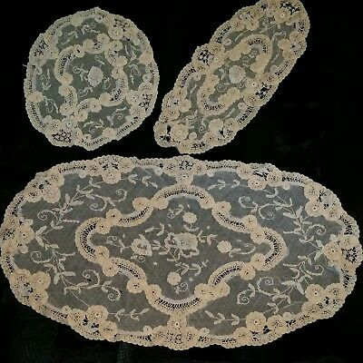 Antique Lace Doilies Set, 3 pc, French Lace ? 1890s to 1910 Nice Work, BEAUTIFUL