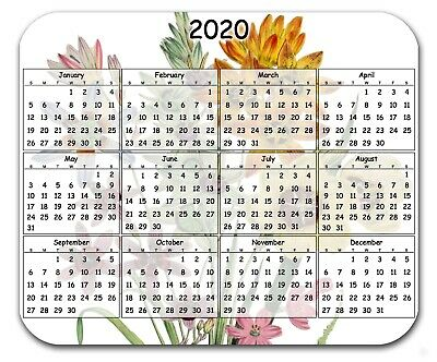 Mouse Pad Custom Thick Mousepad-Floral Bouquet With Yearly Calendar-Your Text