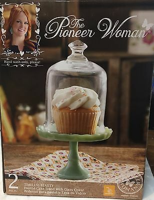 """The Pioneer Woman """"Timeless Beauty"""" Footed Cake Stand with Glass Cover"""