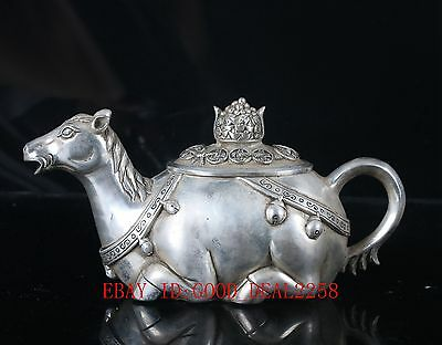 Chinese Silve Copper Handcarved House Teapot W XuanDe Mark BT043