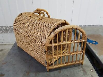 VINTAGE Cane Cat Basket KITTY TRAVEL CARRY CAGE Wicker cute RETRO Decor