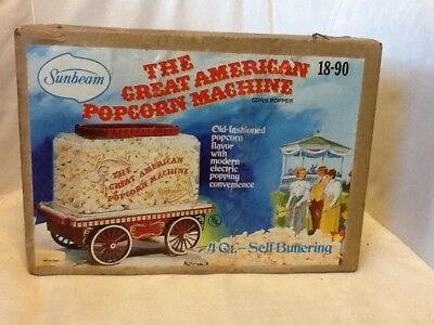 Vintage 1978 Sunbeam The Great American Self Buttering Popcorn Machine  NIB