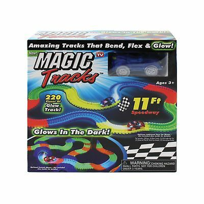Magic Tracks 220-Piece Glow-in-the-dark Racetrack and Car Play Set New