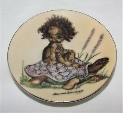 Brownie Downing Miniature Display Plate Young Child Riding Turtle - Signed
