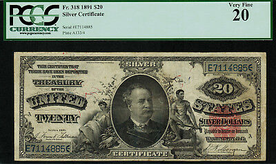 """1891 $20 Silver Certificate FR-318 - """"MANNING"""" - PCGS 20 - Very Fine"""