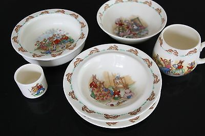 Royal Doulton Original Bunnykins English Fine Bone China set of 6 items.