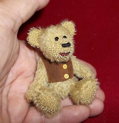 """Honey tan Mohair Mini Bear with  brown vest  - by Hank 3 3/8"""" standing #2"""
