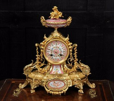 ANTIQUE FRENCH ORMOLU and PINK SEVRES PORCELAIN BOUDOIR CLOCK C1880