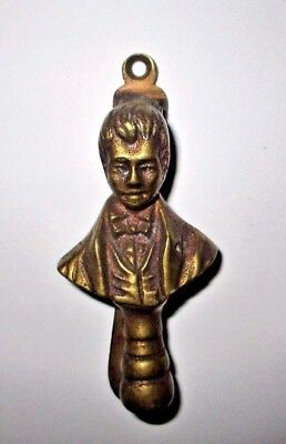 Antique English Brass Man Bust Door Knocker Vintage England Victorian Figural