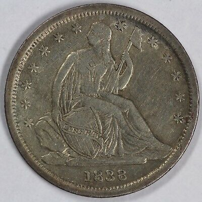 1838 10c Seated Liberty Dime UNSLABBED