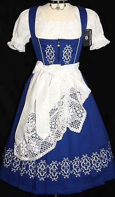 Dirndl Oktoberfest German Garden Party LONG Dress EMBROIDERED 3 Pc COMPLETE SET