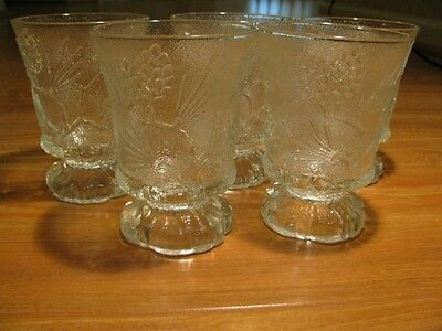 Early Set Of 5 Tiara Ponderosa Pine Glasses By Indiana Glass