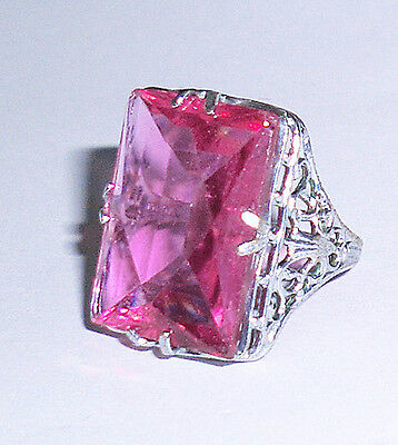 Vintage Edwardian Art Deco Pink Glass Faceted Stone Filigree Rhodium Plate Ring