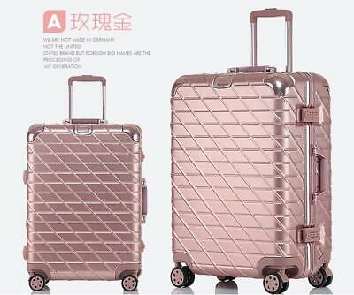 "24"" Travel Lightweight Aluminum Alloy Universal Wheel Luggage Suitcase Rose Red"