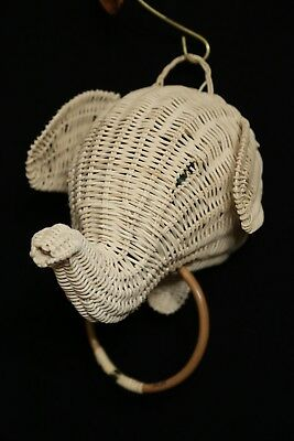 Natural Wicker Elephant Animal Towel Holder for Bath, Kitchen NEW