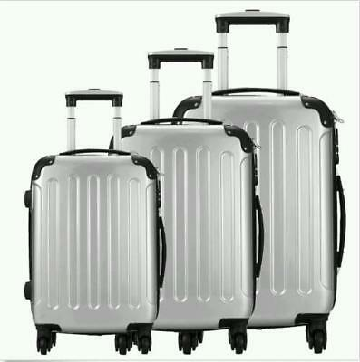 3pcs Travel Lightweight Aluminum Alloy Universal Wheel Luggage Suitcase Silver