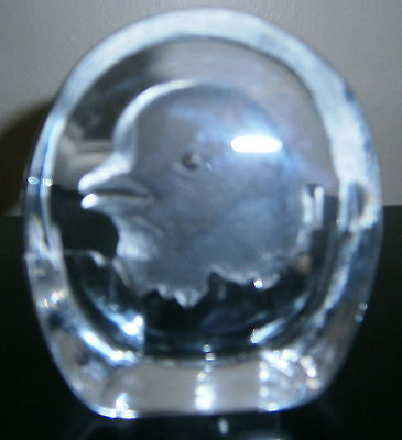 Paperweight Art Glass Bird Chick Pigeon Figurine Etched Crystal Block Collection