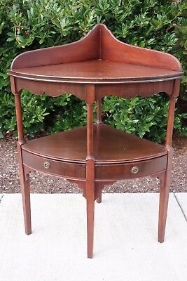 Vintage Antique Mahogany Corner Table Stand with 2 Drawers