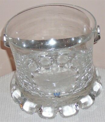 Heavy crystal ice bucket, with chrome handle by Kosta Sweden