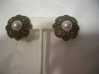 Vintage Judith Jack Jj Sterling Silver Marcasite With Pearl Pierced Earrings