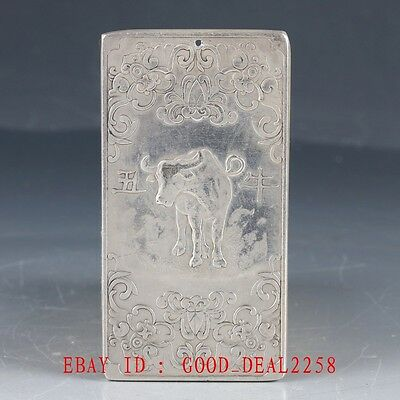 Chinese Collection Tibet Silver Hand Carved Cattle Predant YP09