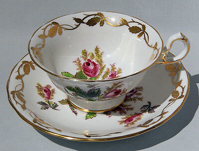 Vintage Hand Painted Large ROYAL CHELSEA MOSS ROSE CUP & SAUCER - Mint Condition