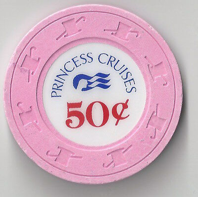 $.50 Cruise Line Princess Cruises Casino Chip Ship Water H&c Mold Light Pink