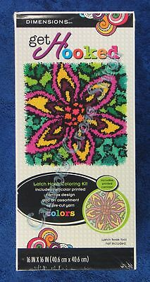 """Latch Hook Kit Colourful Flower 16"""" x 16"""" Dimensions Printed Canvas"""