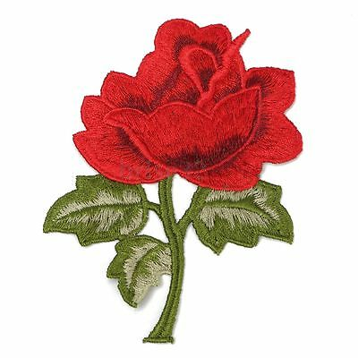 FREE SHIP Flower & Leaf Applique Red Rose Satiny Floral Embroidery 4.5 inch