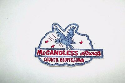 Vintage McCandless Aircraft Embroidered Patch Council Bluff, Ia